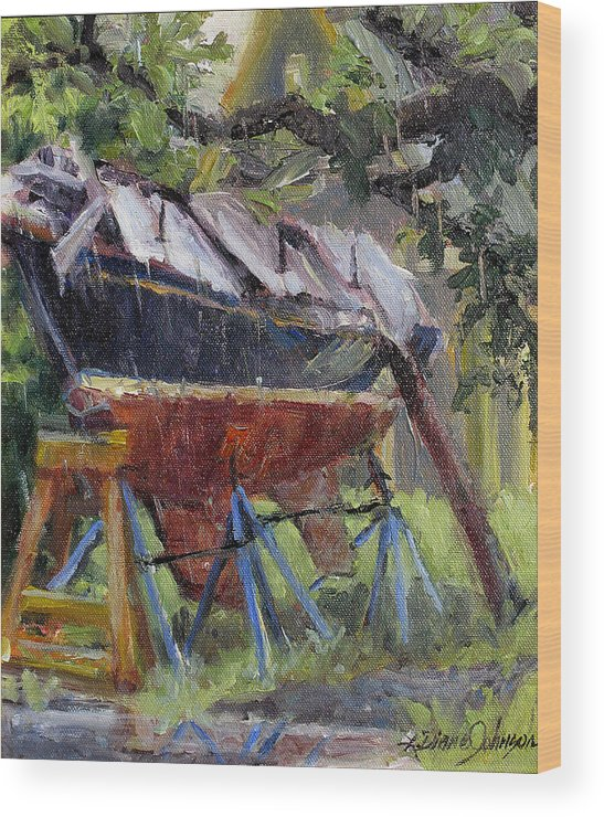 Sail Boats Wood Print featuring the painting Dreamin' In The Rain by L Diane Johnson