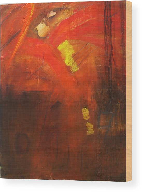 Abstract Wood Print featuring the painting Ego Trip by Carrie Allbritton