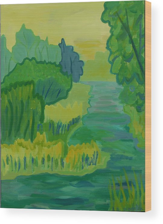 River Wood Print featuring the painting Ellis River by Debra Bretton Robinson