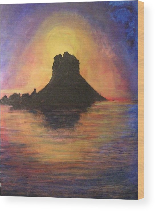 Sunset Wood Print featuring the painting Es Vedra Sunset I by Lizzy Forrester