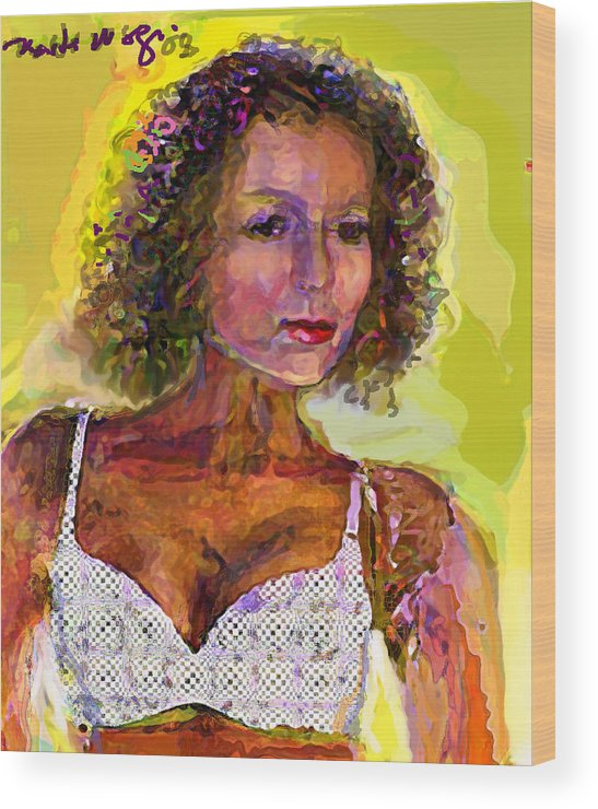 Portrait Wood Print featuring the painting Fallingangel by Noredin Morgan