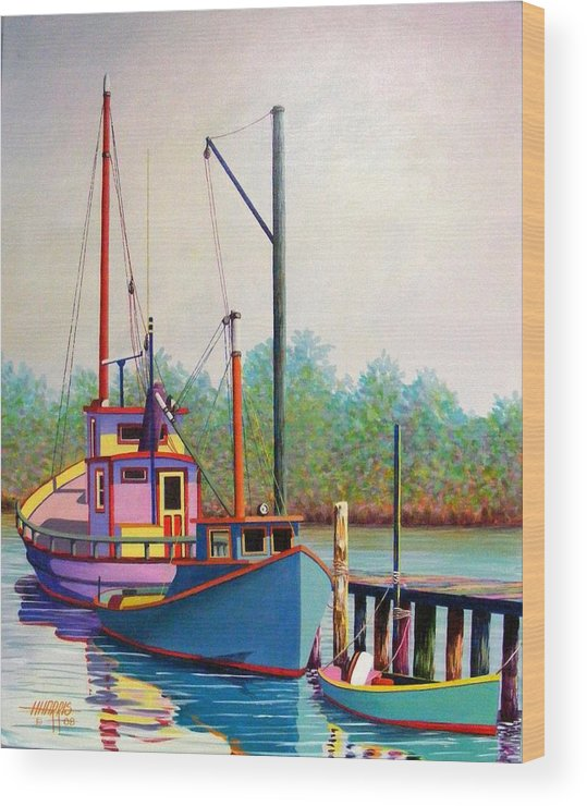 Landscape Wood Print featuring the painting Fancy Fleet by Hugh Harris
