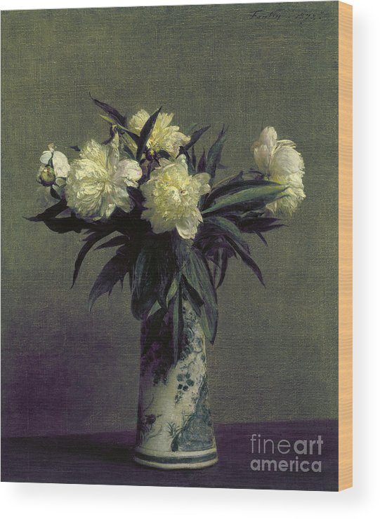 1872 Wood Print featuring the photograph Fantin-latour: Peonies, 1872 by Granger