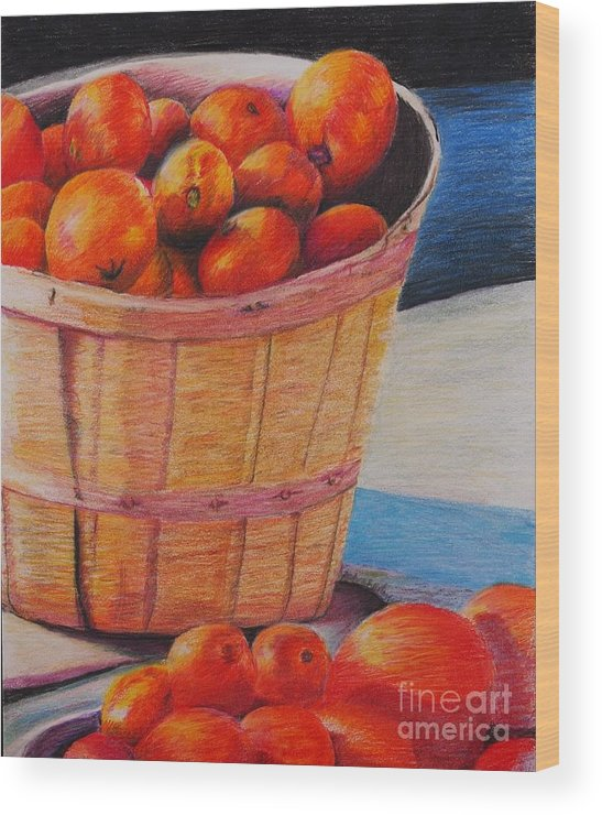 Produce In A Basket Wood Print featuring the drawing Farmers Market Produce by Nadine Rippelmeyer