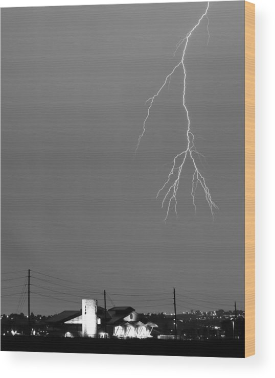 Lightning Wood Print featuring the photograph Fire Rescue Station 67 Lightning Thunderstorm 2c Bw by James BO Insogna