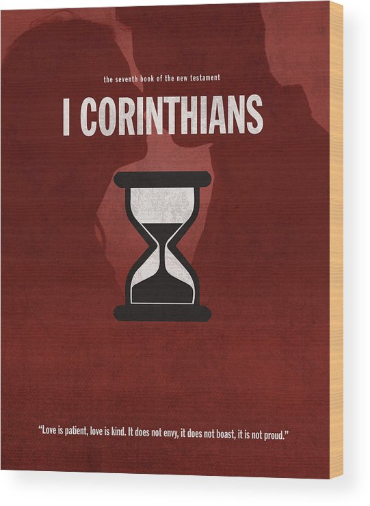 First Corinthians Wood Print featuring the mixed media First Corinthians Books Of The Bible Series New Testament Minimal Poster Art Number 07 by Design Turnpike