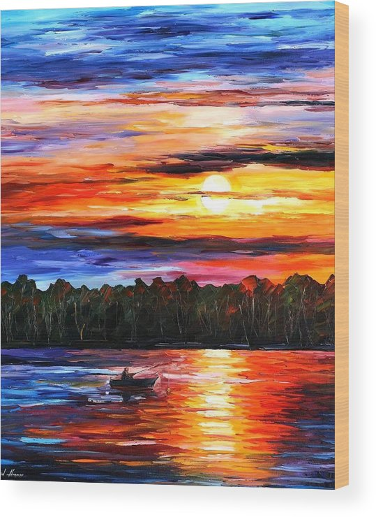 Seascape Wood Print featuring the painting Fishing By The Sunset by Leonid Afremov