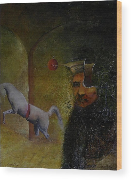 Surrealism Wood Print featuring the painting Flemish Surrealism by Dejan Roncevic