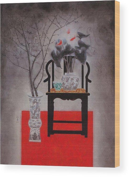 Flowers Paintings Wood Print featuring the painting Flowers In Vase-black Flowers by Minxiao Liu