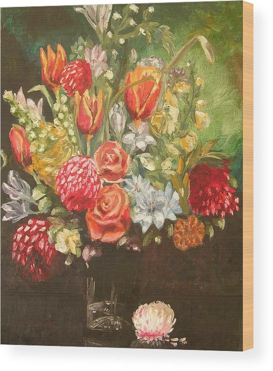 Floral Wood Print featuring the painting For Mom by Janos Szatmari