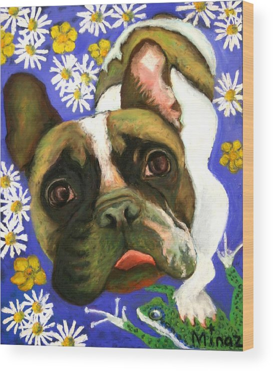 Pet Portrait Wood Print featuring the painting Frenchie Plays With Frogs by Minaz Jantz