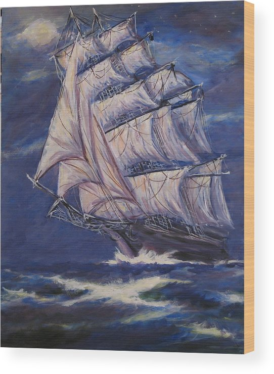 Sailing Ship Wood Print featuring the painting Full Sails Under Full Moon by Thomas Restifo