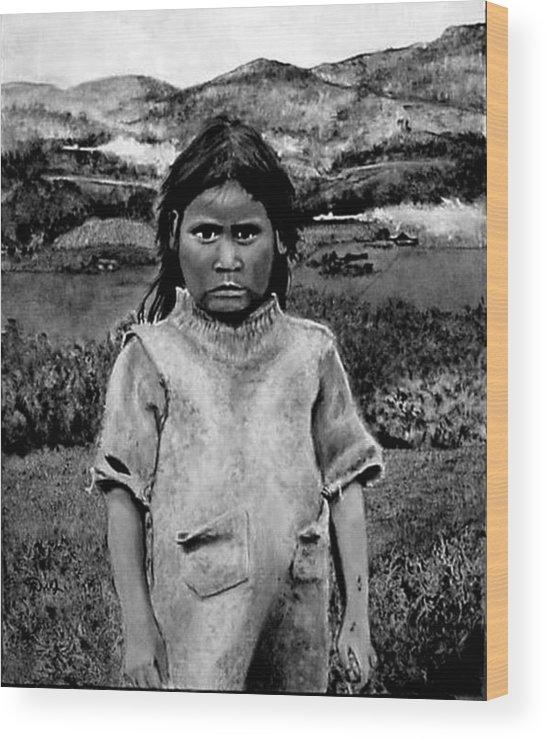 Girl Wood Print featuring the painting Fumigando A La Nina by Fernando Armel