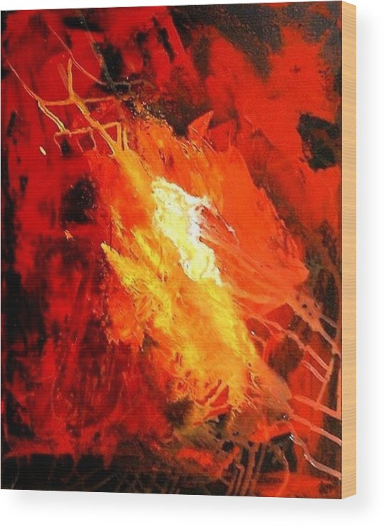 Red Wood Print featuring the painting Galaxy Abstract1of4 by Teo Alfonso