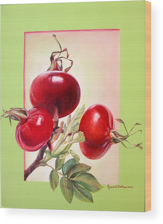 Still Life Wood Print featuring the painting Grenadine by Muriel Dolemieux