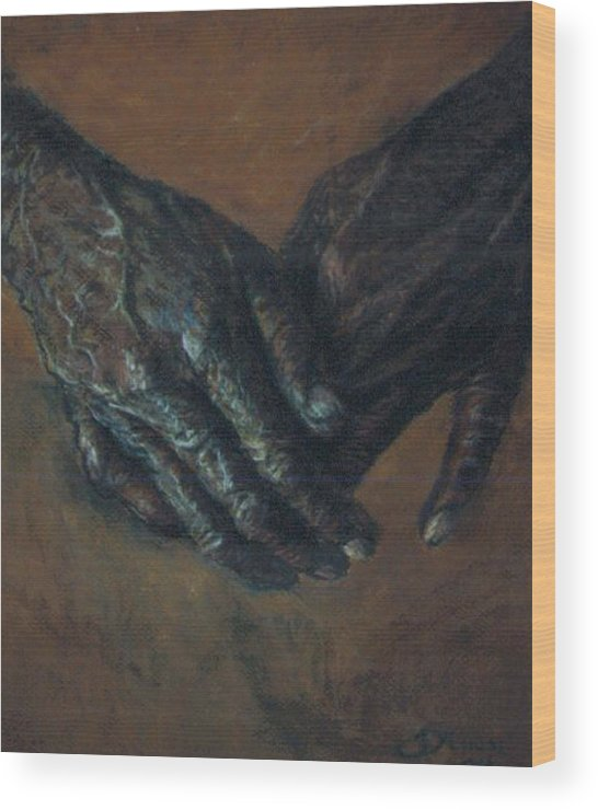 Hands Wood Print featuring the pastel Hands Of Time by Tommy Winn