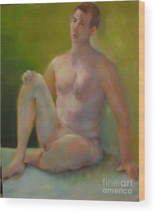 Figure Wood Print featuring the painting Handsome      Copyrighted by Kathleen Hoekstra
