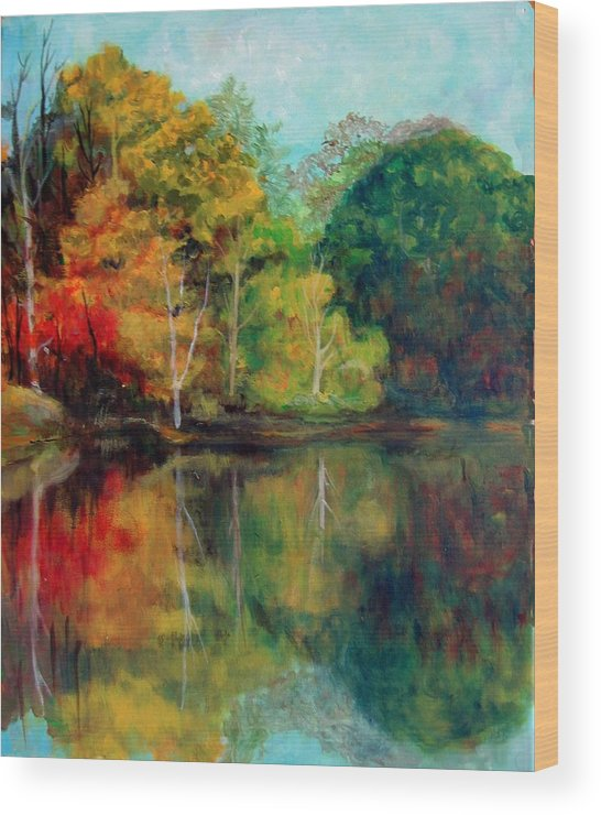 Happy Valley Wood Print featuring the photograph Happy Valley Pond by Lyn Vic