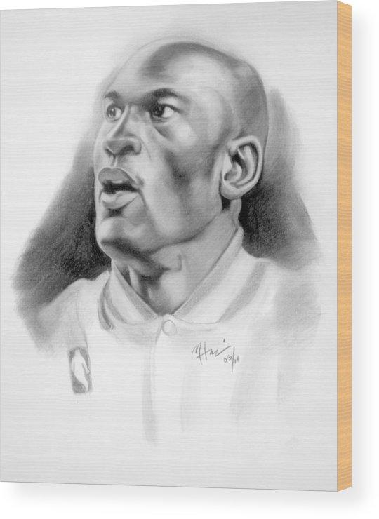 Michael Wood Print featuring the drawing Michael Jordan by Michael Harris