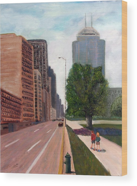 Cityscape Wood Print featuring the painting Indy Kids by Stan Hamilton