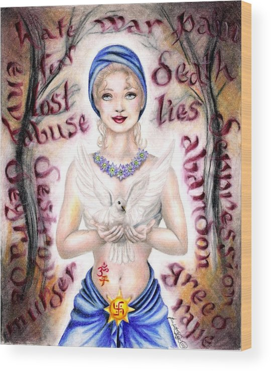 Peace Project Wood Print featuring the drawing Inner Peace by Scarlett Royal