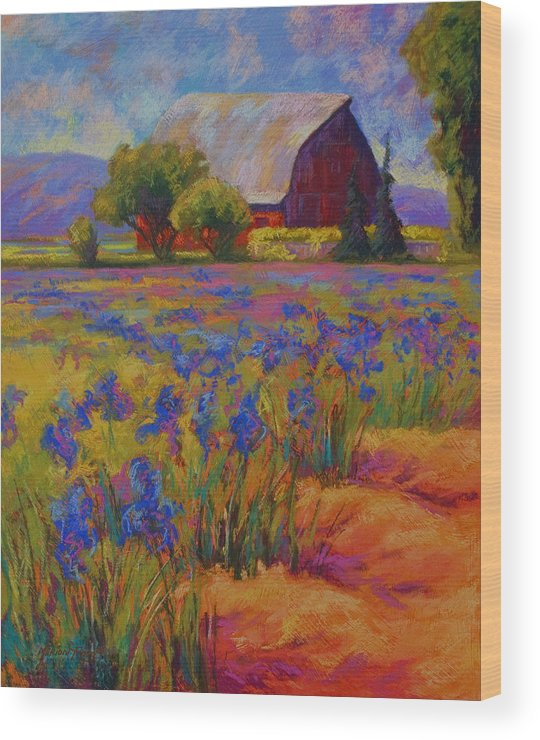 Pastel Wood Print featuring the painting Iris Field by Marion Rose