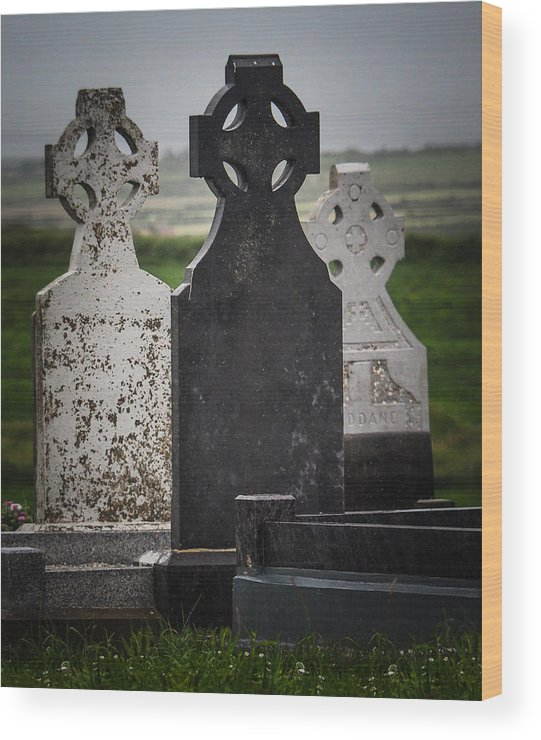 2015 Wood Print featuring the photograph Irish Cemetery P7010429 by Deidre Elzer-Lento