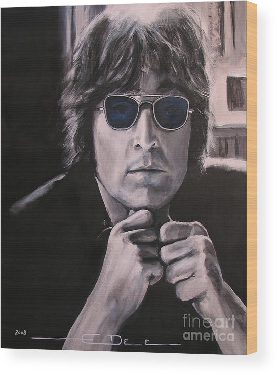 John Lennon Wood Print featuring the painting JL1 by Eric Dee