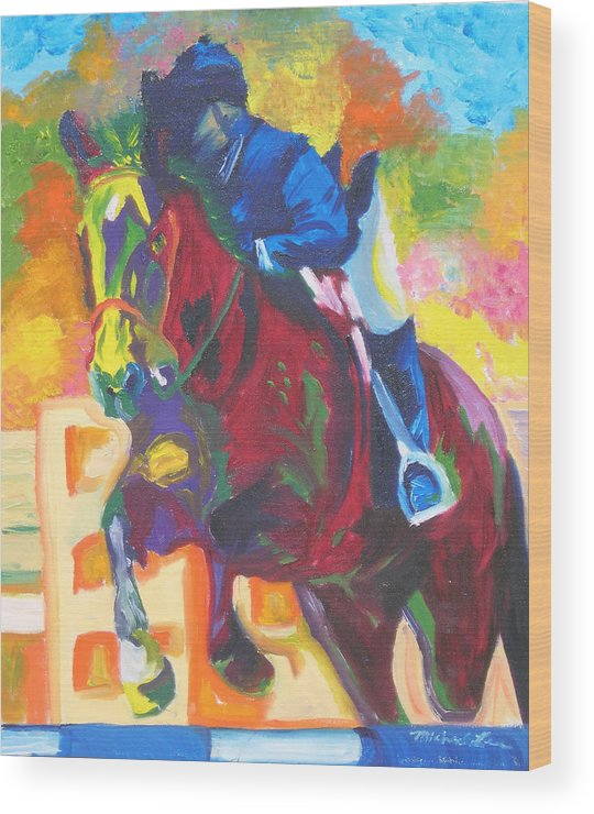 Horse Jumping Wood Print featuring the painting Jump Off by Michael Lee