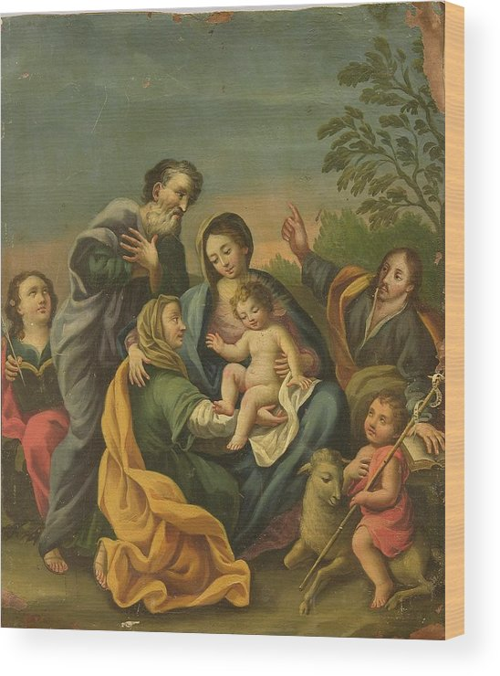 Devotional Wood Print featuring the painting La Familia Con Los Santos Juanes by Unknown
