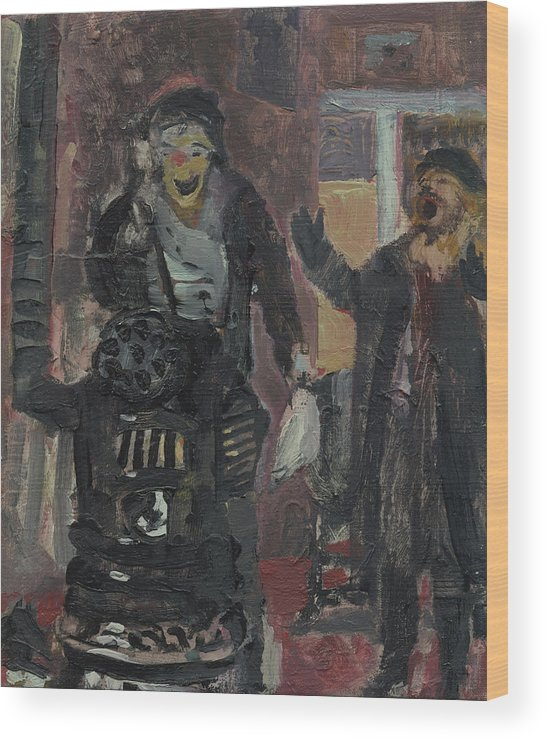 Figure Wood Print featuring the painting Laboheme Act 1 Burning by Bill Collins