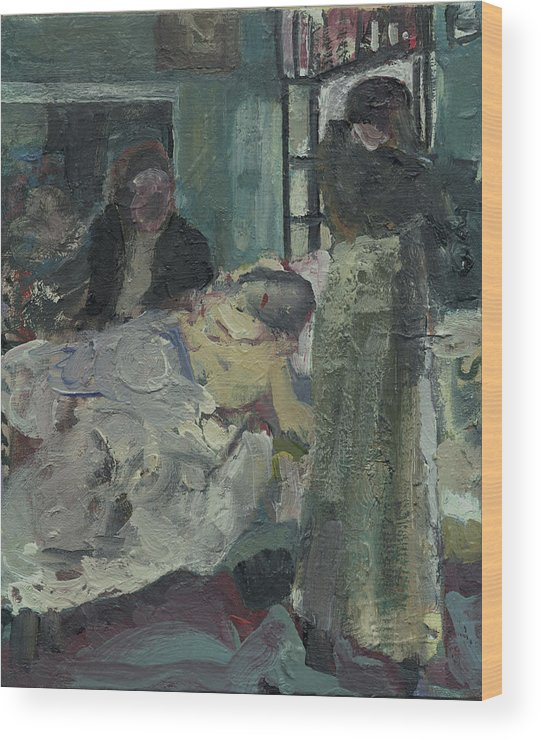 Figure Wood Print featuring the painting Laboheme Act 4 Mimi Dies by Bill Collins
