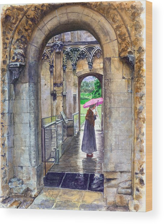 Glastonbury Wood Print featuring the painting Lady Chapel by John D Benson