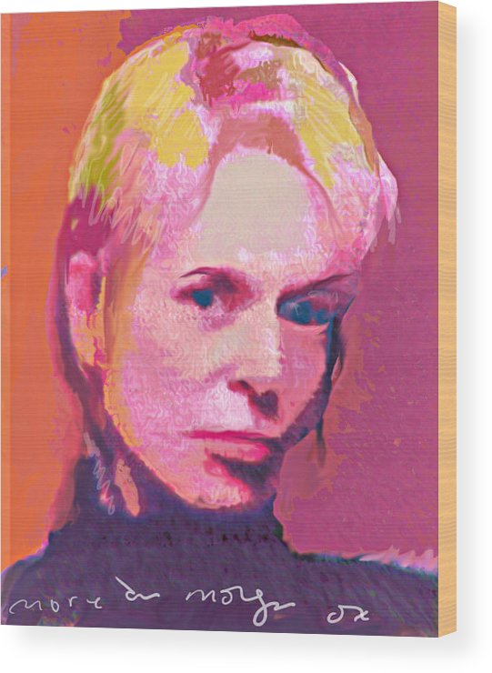 Portrait Wood Print featuring the painting Lauri by Noredin Morgan