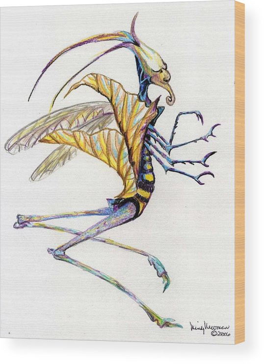 Insect Wood Print featuring the drawing Leaf Hopper by Mindy Newman