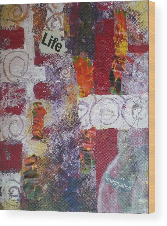Collage Wood Print featuring the mixed media Life Cycle by Aleksandra Buha
