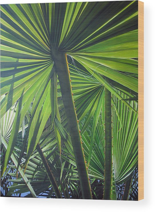 Palmtrees Wood Print featuring the painting Lights And Shadows by Laine Garrido