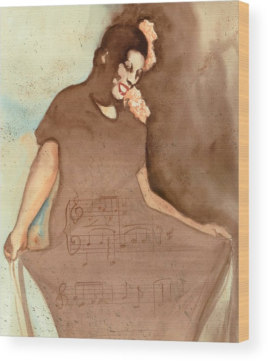 Portraits Wood Print featuring the painting L'il Green by Kay Robinson