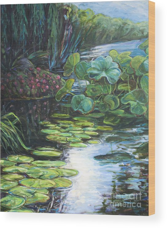 Landscape Wood Print featuring the painting Lilly Pads by Gary Symington
