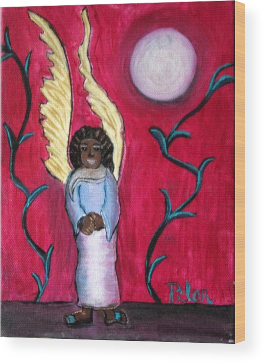 Beautiful Black Angel With Long Gold Wings Wood Print featuring the painting Little Angel by Pilar Martinez-Byrne