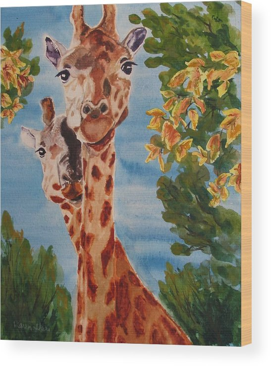 Giraffes Wood Print featuring the painting Lookin Back by Karen Ilari