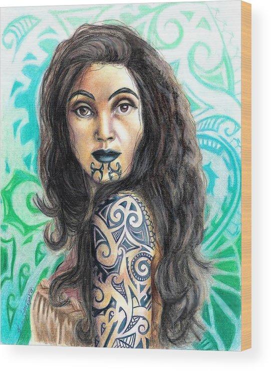 Woman Wood Print featuring the drawing Maori Woman by Scarlett Royal
