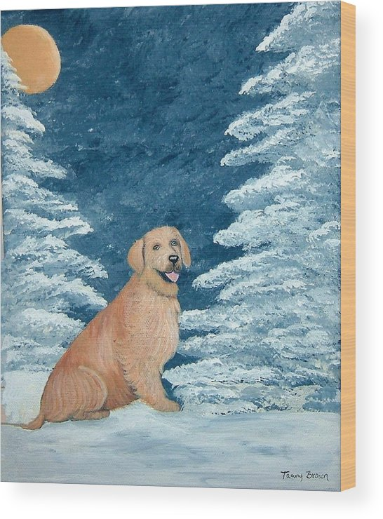 Golden Retriever Wood Print featuring the painting Midnight Snow by Tammy Brown
