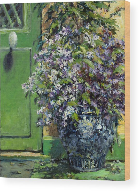Giverny France Wood Print featuring the painting Monet's Entry by L Diane Johnson