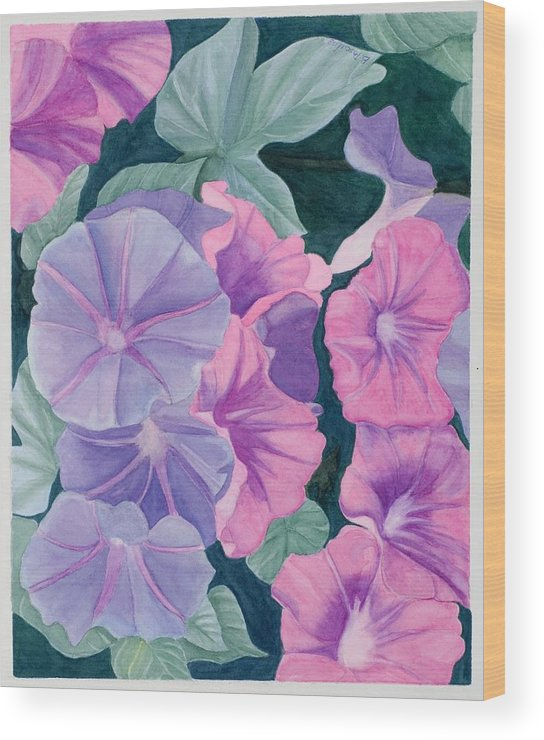 Flowers Wood Print featuring the painting Morning Glories by Barbara Pascal