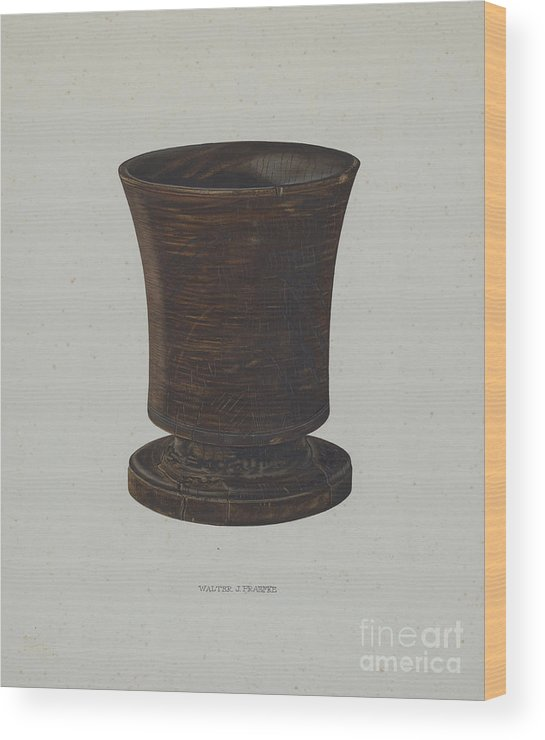 Wood Print featuring the drawing Mortar by Walter Praefke