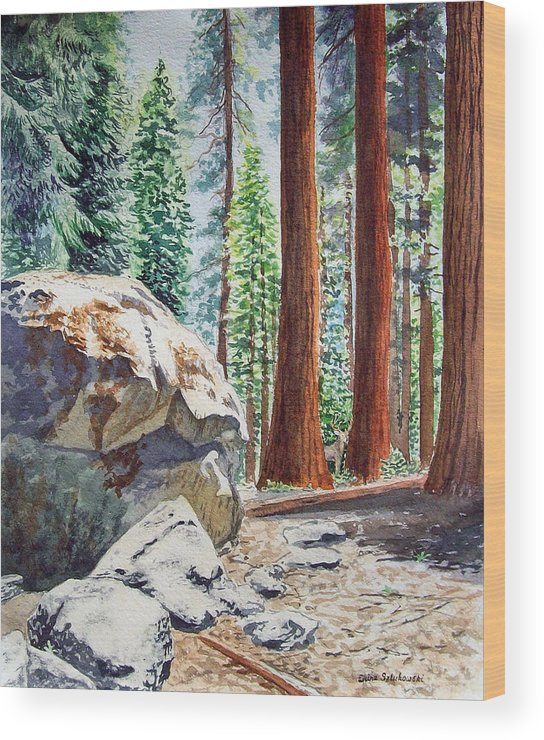 Sequoia Wood Print featuring the painting National Park Sequoia by Irina Sztukowski