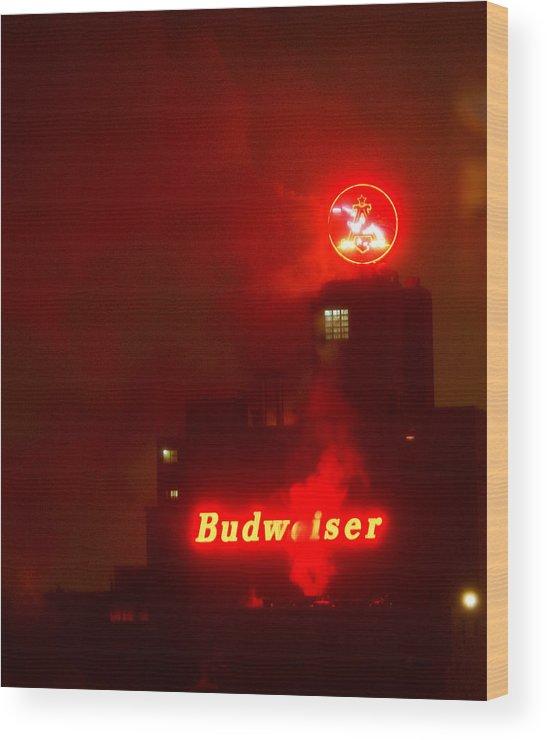 Budweiser Wood Print featuring the photograph Newark Budweiser by Scott Sawyer