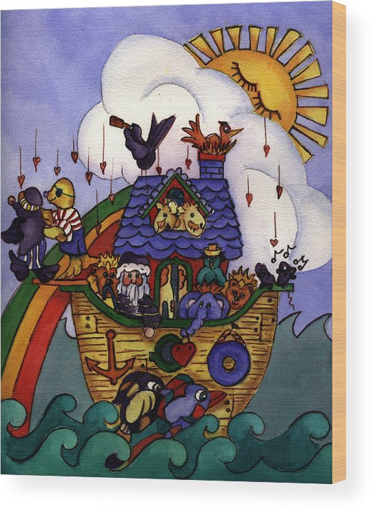 Whimisical Wood Print featuring the painting Noah's Ark by Patricia Halstead