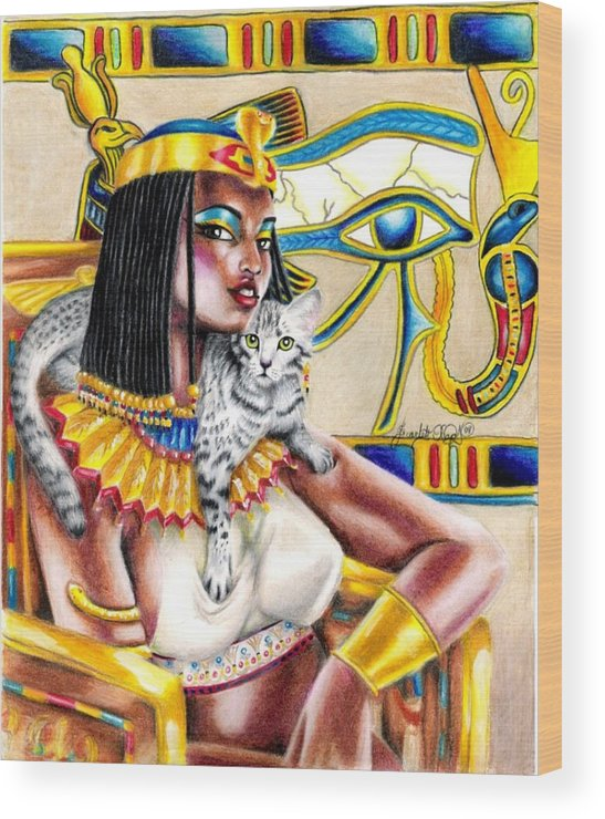 Egyptian Mau Wood Print featuring the drawing Nubian Queen by Scarlett Royal